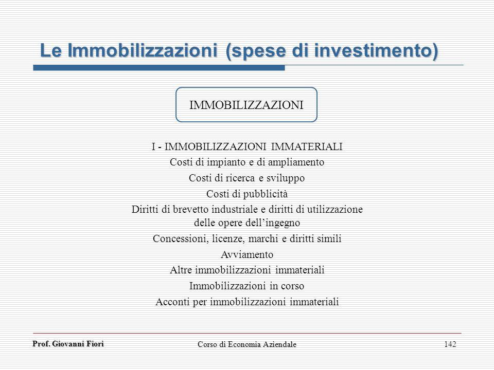 Prof. Giovanni Fiori 142 Le Immobilizzazioni (spese di investimento) IMMOBILIZZAZIONI I - IMMOBILIZZAZIONI IMMATERIALI Costi di impianto e di ampliame