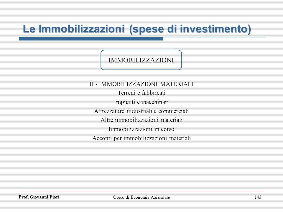 Prof. Giovanni Fiori 143 Le Immobilizzazioni (spese di investimento) IMMOBILIZZAZIONI II - IMMOBILIZZAZIONI MATERIALI Terreni e fabbricati Impianti e