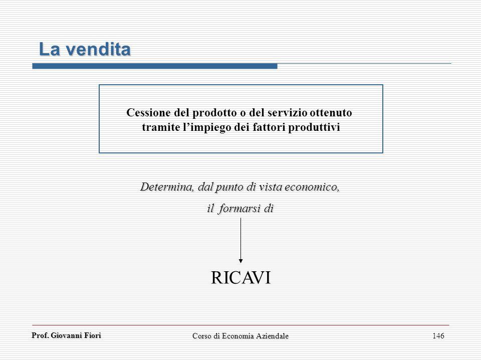Prof. Giovanni Fiori 146 Cessione del prodotto o del servizio ottenuto tramite limpiego dei fattori produttivi RICAVI Determina, dal punto di vista ec