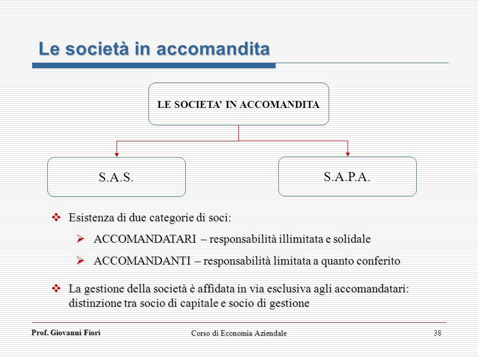 Prof. Giovanni Fiori Corso di Economia Aziendale38 Le società in accomandita LE SOCIETA IN ACCOMANDITA S.A.S. S.A.P.A. Esistenza di due categorie di s