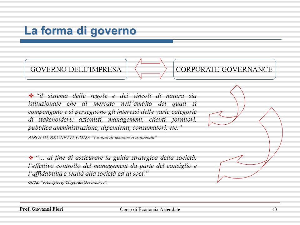 Prof. Giovanni Fiori Corso di Economia Aziendale43 La forma di governo GOVERNO DELLIMPRESA CORPORATE GOVERNANCE il sistema delle regole e dei vincoli