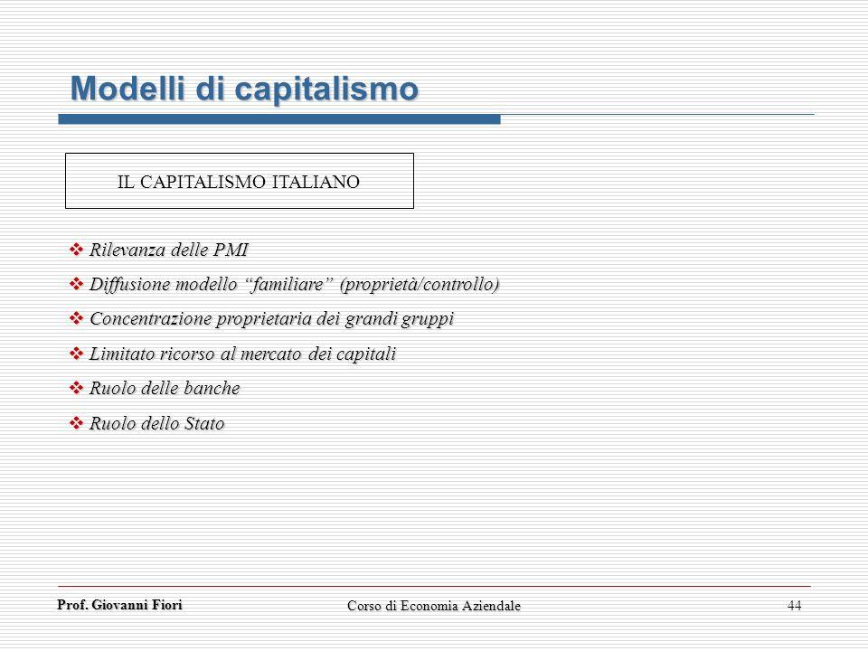 Prof. Giovanni Fiori Corso di Economia Aziendale44 Modelli di capitalismo Rilevanza delle PMI Rilevanza delle PMI Diffusione modello familiare (propri