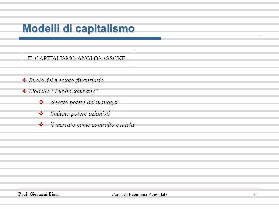 Prof. Giovanni Fiori Corso di Economia Aziendale45 Modelli di capitalismo Ruolo del mercato finanziario Ruolo del mercato finanziario Modello Public c
