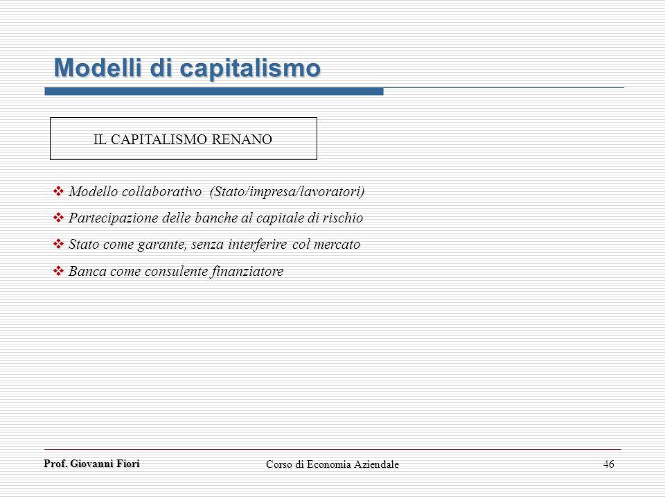 Prof. Giovanni Fiori Corso di Economia Aziendale46 Modelli di capitalismo Modello collaborativo (Stato/impresa/lavoratori) Modello collaborativo (Stat
