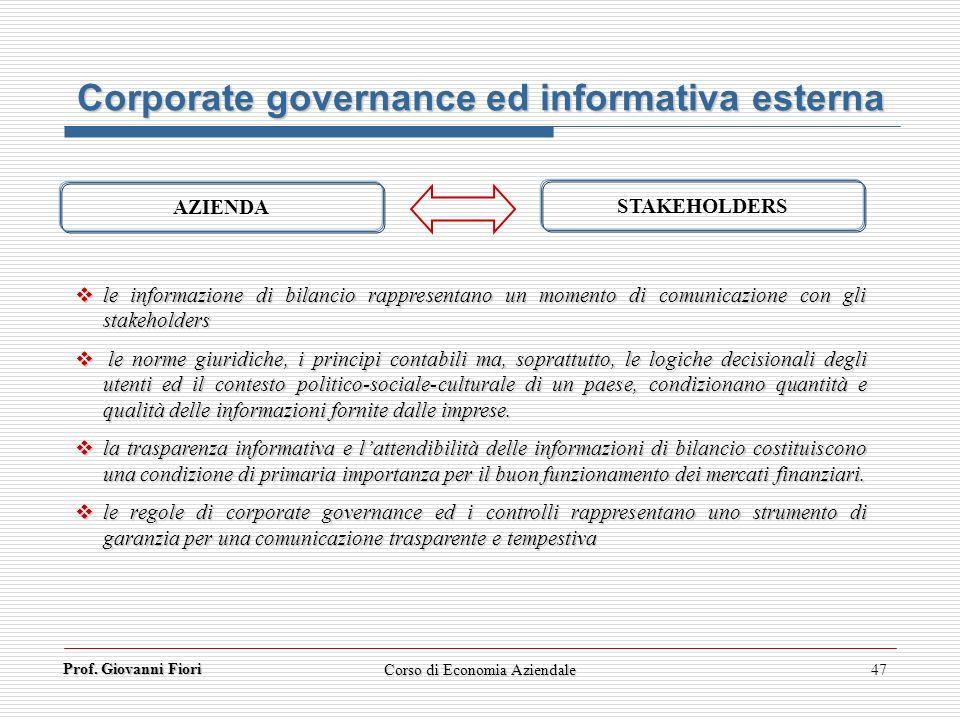 Prof. Giovanni Fiori Corso di Economia Aziendale47 Corporate governance ed informativa esterna le informazione di bilancio rappresentano un momento di