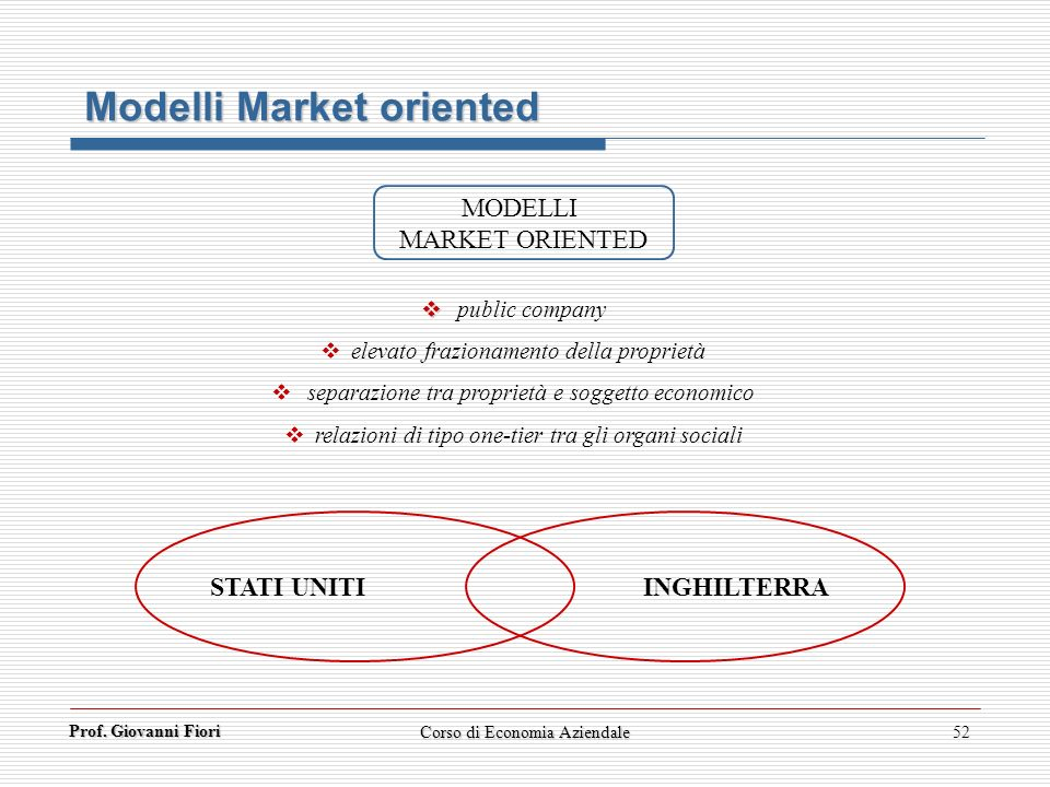 Prof. Giovanni Fiori Corso di Economia Aziendale52 Modelli Market oriented public company elevato frazionamento della proprietà separazione tra propri