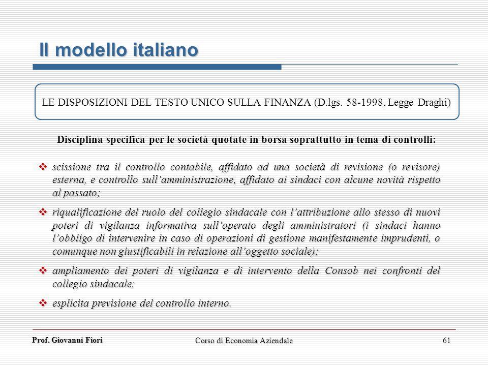 Prof. Giovanni Fiori Corso di Economia Aziendale61 Il modello italiano LE DISPOSIZIONI DEL TESTO UNICO SULLA FINANZA (D.lgs. 58-1998, Legge Draghi) sc