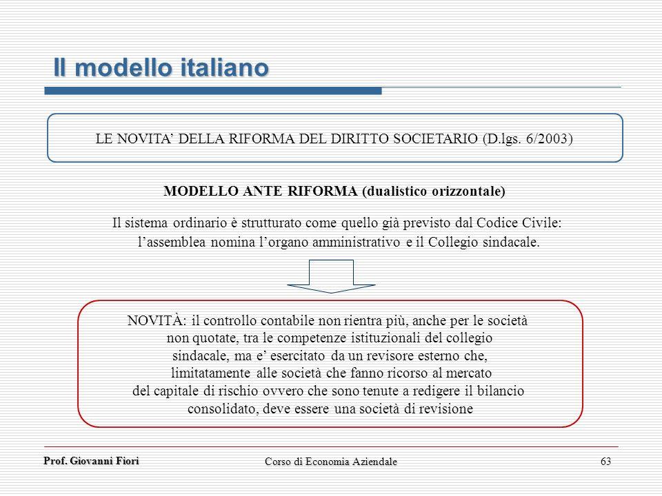 Prof. Giovanni Fiori Corso di Economia Aziendale63 Il modello italiano LE NOVITA DELLA RIFORMA DEL DIRITTO SOCIETARIO (D.lgs. 6/2003) MODELLO ANTE RIF