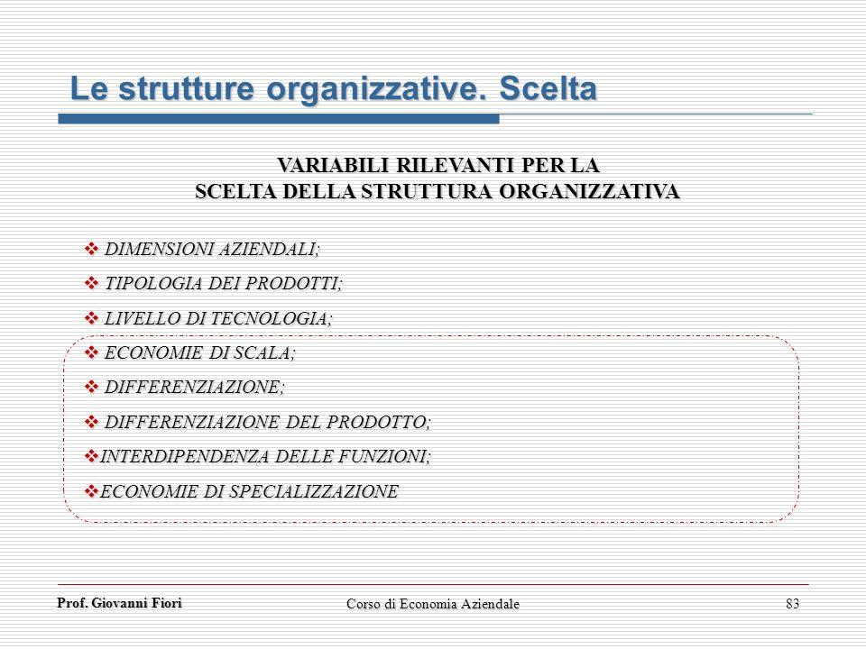 Prof. Giovanni Fiori Corso di Economia Aziendale83 Le strutture organizzative. Scelta VARIABILI RILEVANTI PER LA SCELTA DELLA STRUTTURA ORGANIZZATIVA