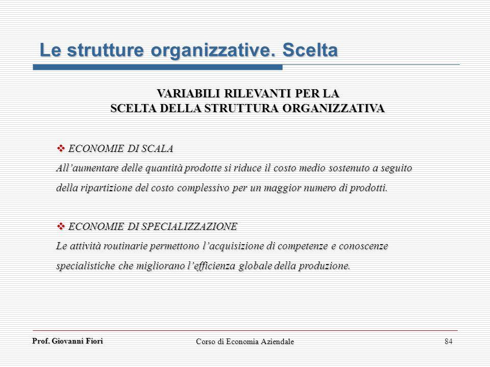 Prof. Giovanni Fiori Corso di Economia Aziendale84 Le strutture organizzative. Scelta VARIABILI RILEVANTI PER LA SCELTA DELLA STRUTTURA ORGANIZZATIVA