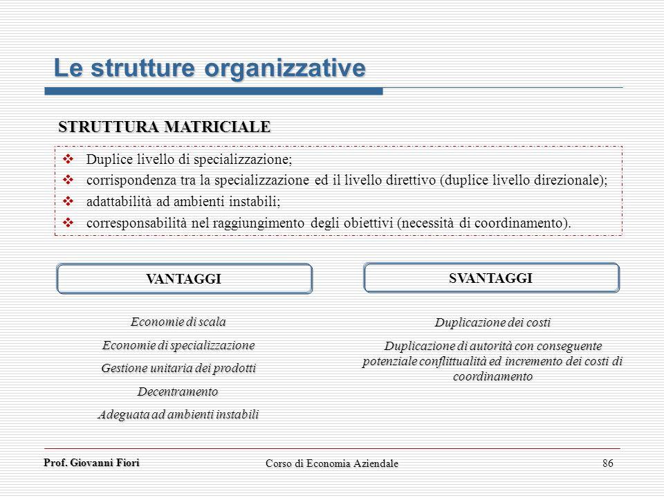 Prof. Giovanni Fiori Corso di Economia Aziendale86 Le strutture organizzative STRUTTURA MATRICIALE Duplice livello di specializzazione; corrispondenza
