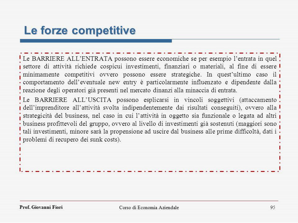 Prof. Giovanni Fiori Corso di Economia Aziendale95 Le forze competitive Le BARRIERE ALLENTRATA possono essere economiche se per esempio lentrata in qu