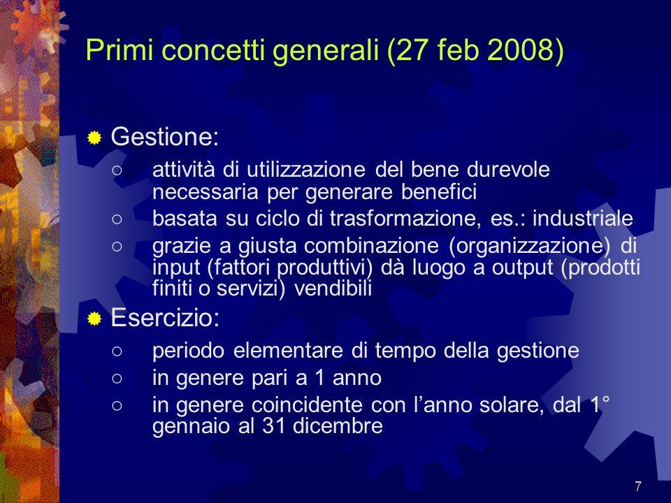 8 Primi concetti generali (27 feb 2008) Impresa: sinonimo di: intrapresa, iniziativa, avventura contiene: obiettivo, rischio, sfida, ricerca di successo.