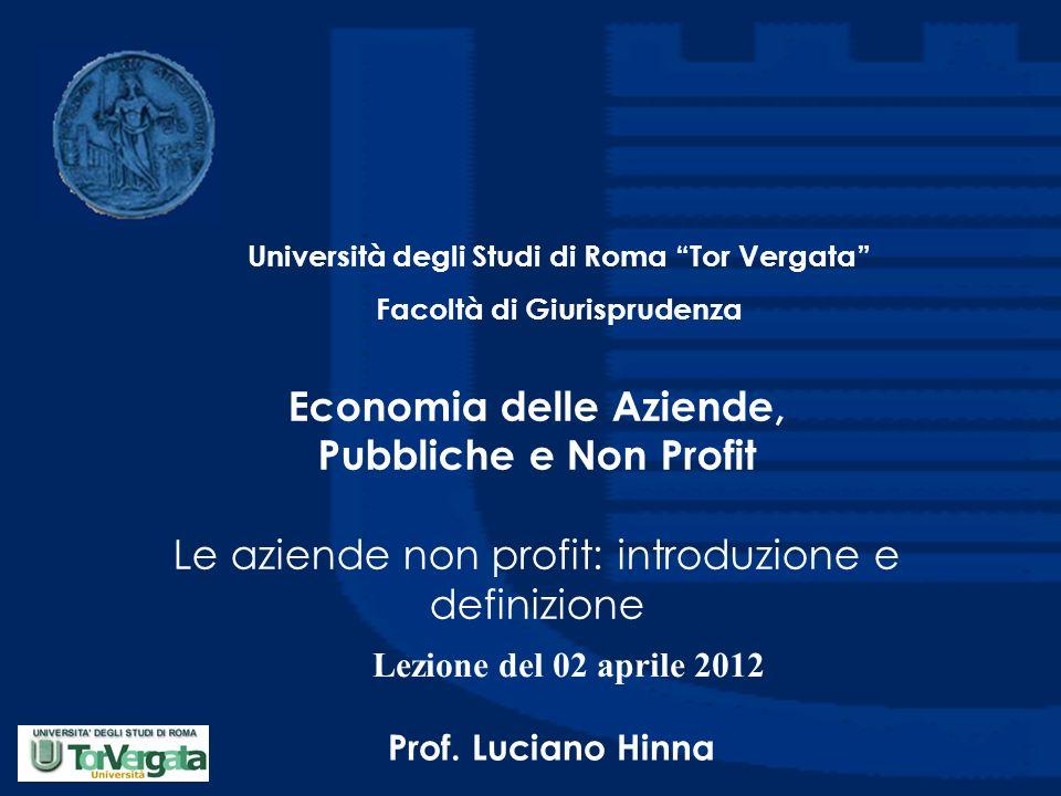 Economia delle Aziende, Pubbliche e Non Profit Le aziende non profit: introduzione e definizione Università degli Studi di Roma Tor Vergata Facoltà di