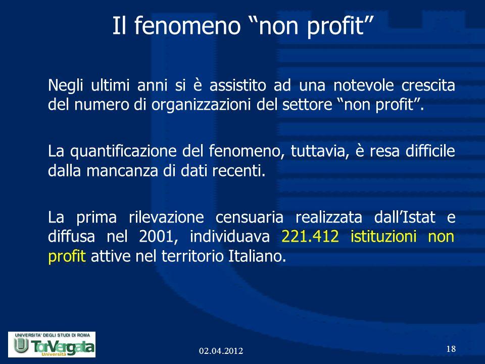 Il fenomeno non profit 18 02.04.2012 Negli ultimi anni si è assistito ad una notevole crescita del numero di organizzazioni del settore non profit. La