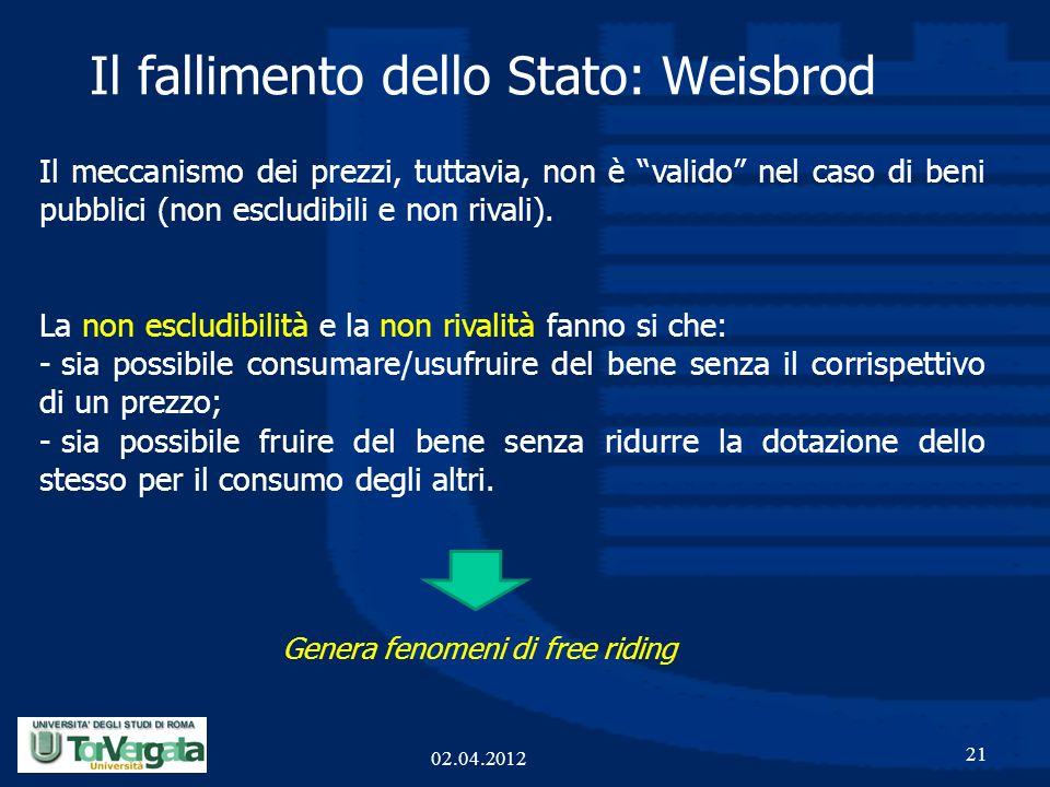 Il fallimento dello Stato: Weisbrod 21 Il meccanismo dei prezzi, tuttavia, non è valido nel caso di beni pubblici (non escludibili e non rivali). La n