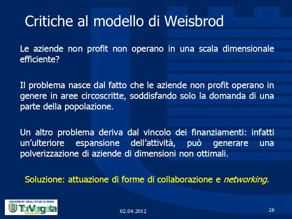 Critiche al modello di Weisbrod Le aziende non profit non operano in una scala dimensionale efficiente? Il problema nasce dal fatto che le aziende non