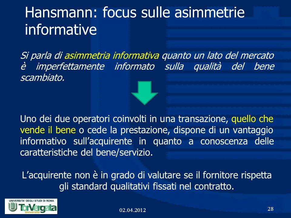 Hansmann: focus sulle asimmetrie informative Si parla di asimmetria informativa quanto un lato del mercato è imperfettamente informato sulla qualità d