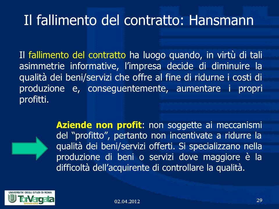 Il fallimento del contratto ha luogo quando, in virtù di tali asimmetrie informative, limpresa decide di diminuire la qualità dei beni/servizi che off