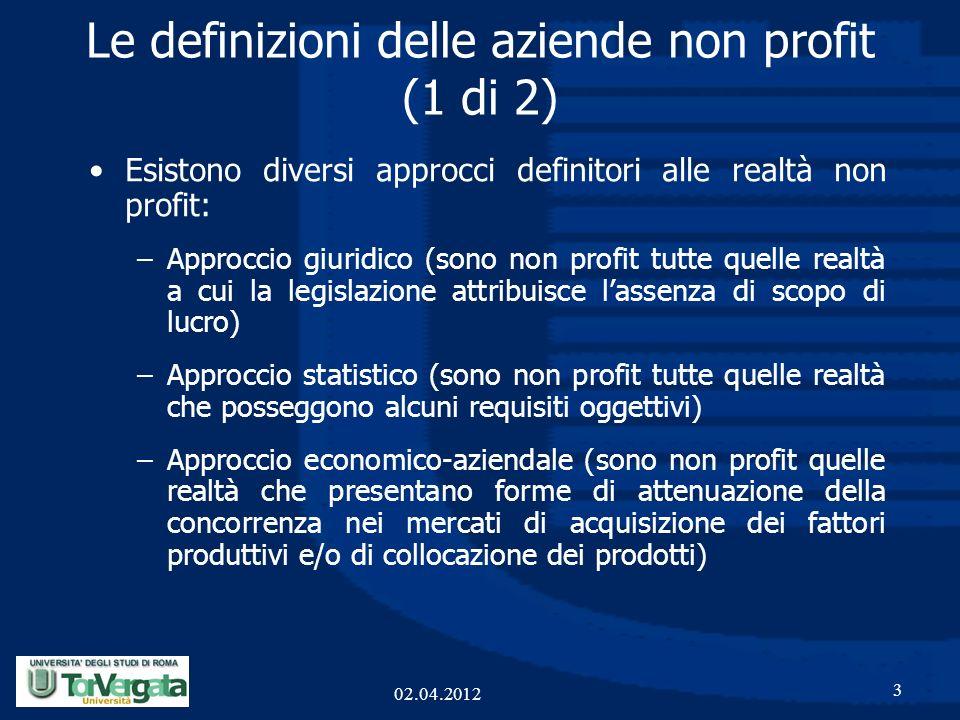 Le definizioni delle aziende non profit (1 di 2) Esistono diversi approcci definitori alle realtà non profit: –Approccio giuridico (sono non profit tu