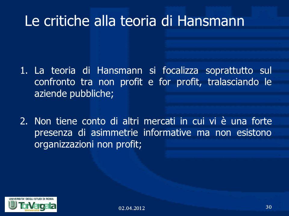 1.La teoria di Hansmann si focalizza soprattutto sul confronto tra non profit e for profit, tralasciando le aziende pubbliche; 2.Non tiene conto di al