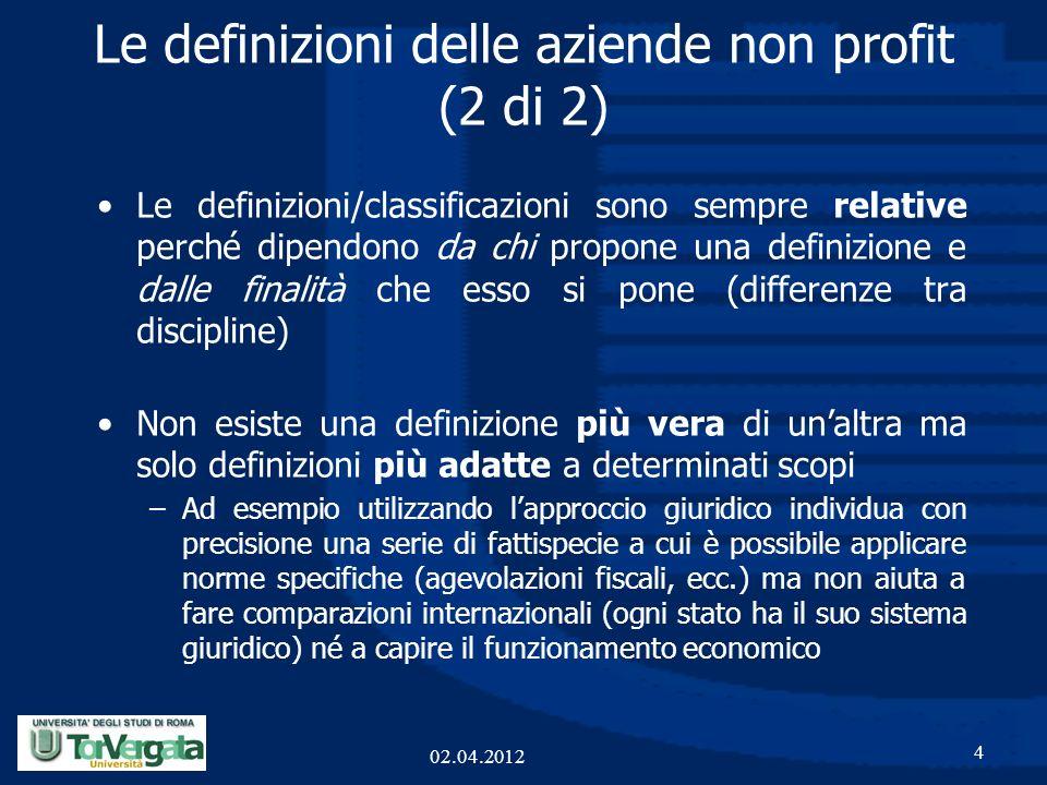Le definizioni delle aziende non profit (2 di 2) Le definizioni/classificazioni sono sempre relative perché dipendono da chi propone una definizione e