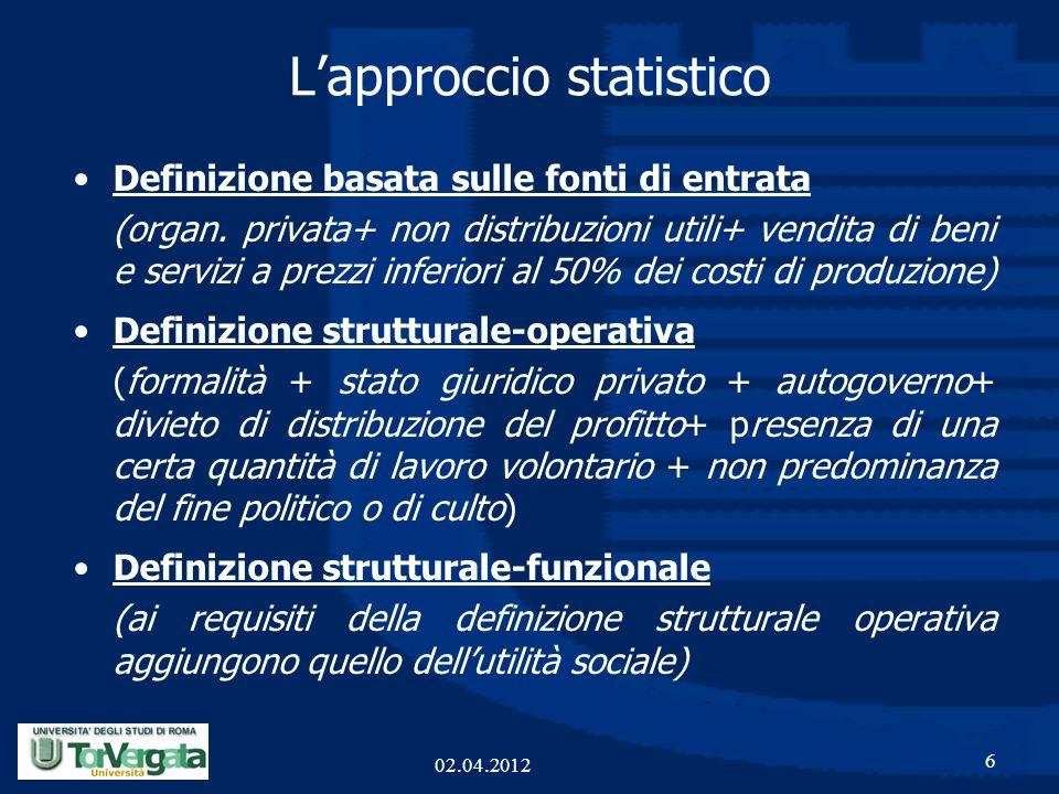 Lapproccio statistico Definizione basata sulle fonti di entrata (organ. privata+ non distribuzioni utili+ vendita di beni e servizi a prezzi inferiori