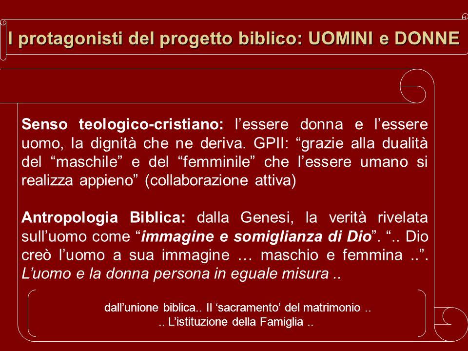 I protagonisti del progetto biblico: UOMINI e DONNE Senso teologico-cristiano: lessere donna e lessere uomo, la dignità che ne deriva. GPII: grazie al