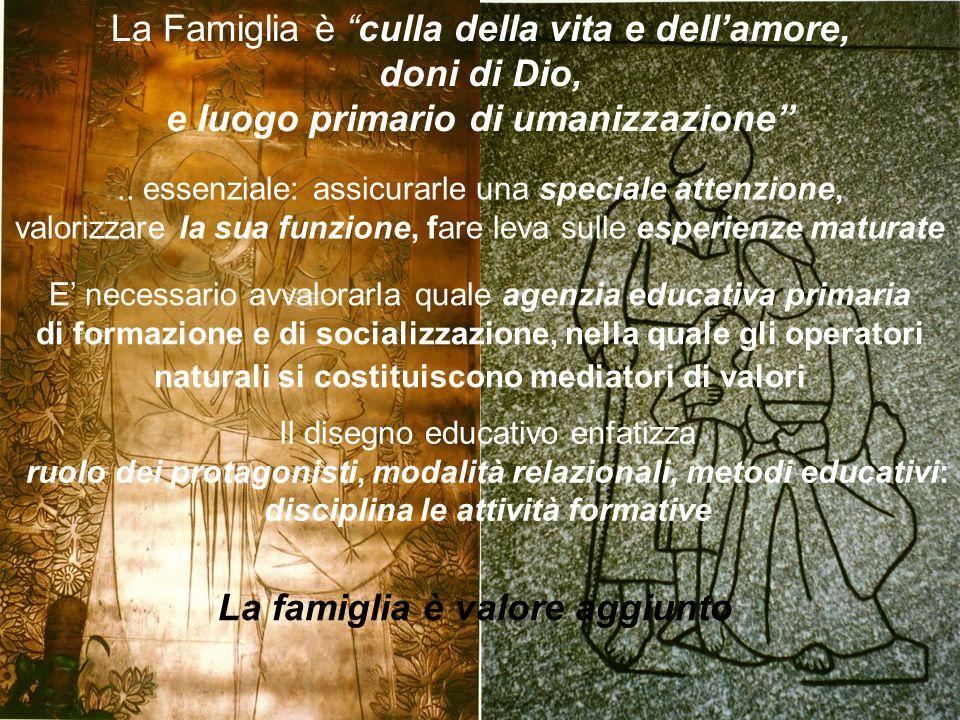 La Famiglia è culla della vita e dellamore, doni di Dio, e luogo primario di umanizzazione.. essenziale: assicurarle una speciale attenzione, valorizz