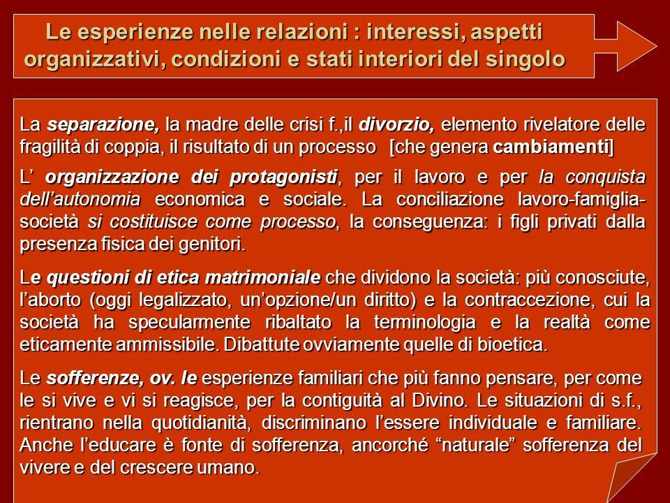 Le esperienze nelle relazioni : interessi, aspetti organizzativi, condizioni e stati interiori del singolo L organizzazione dei protagonisti, per il l