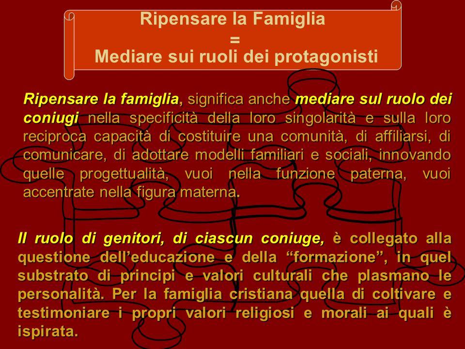 Ripensare la Famiglia = Mediare sui ruoli dei protagonisti Ripensare la famiglia, significa anche mediare sul ruolo dei coniugi nella specificità dell