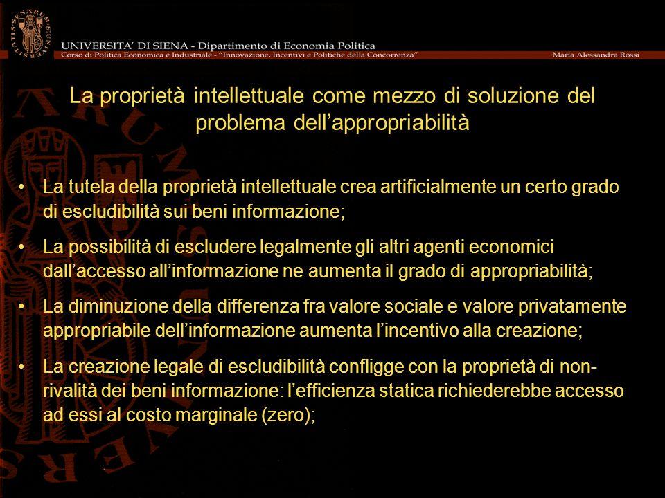 La proprietà intellettuale come mezzo di soluzione del problema dellappropriabilità La tutela della proprietà intellettuale crea artificialmente un ce