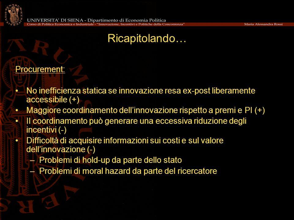 Ricapitolando… Procurement: No inefficienza statica se innovazione resa ex-post liberamente accessibile (+) Maggiore coordinamento dellinnovazione ris