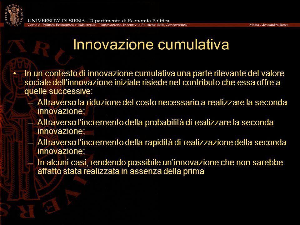 Innovazione cumulativa In un contesto di innovazione cumulativa una parte rilevante del valore sociale dellinnovazione iniziale risiede nel contributo