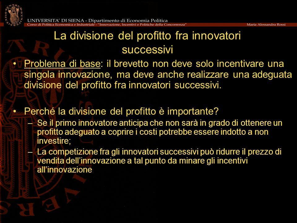 La divisione del profitto fra innovatori successivi Problema di base: il brevetto non deve solo incentivare una singola innovazione, ma deve anche rea
