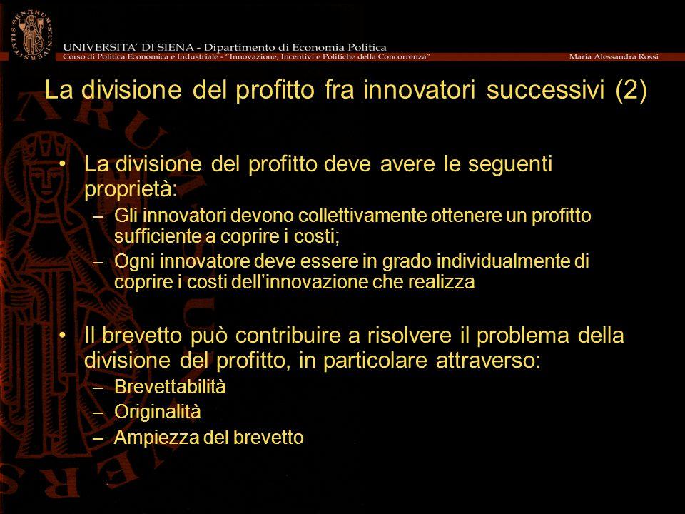 La divisione del profitto fra innovatori successivi (2) La divisione del profitto deve avere le seguenti proprietà: –Gli innovatori devono collettivam