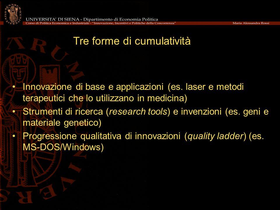 Innovazione di base e applicazioni (es. laser e metodi terapeutici che lo utilizzano in medicina) Strumenti di ricerca (research tools) e invenzioni (