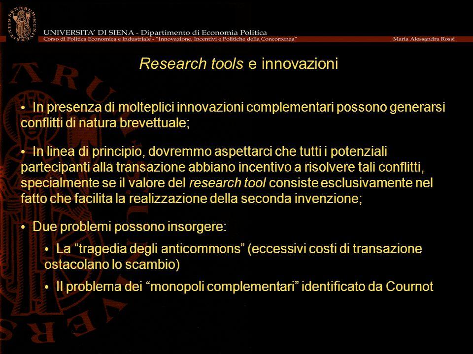 Research tools e innovazioni In presenza di molteplici innovazioni complementari possono generarsi conflitti di natura brevettuale; In linea di princi