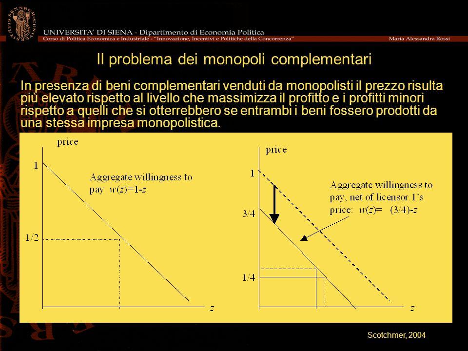 Il problema dei monopoli complementari In presenza di beni complementari venduti da monopolisti il prezzo risulta più elevato rispetto al livello che
