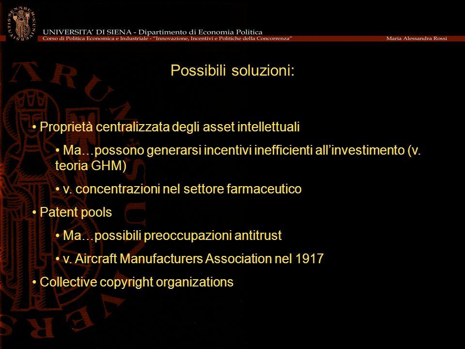 Possibili soluzioni: Proprietà centralizzata degli asset intellettuali Ma…possono generarsi incentivi inefficienti allinvestimento (v. teoria GHM) v.