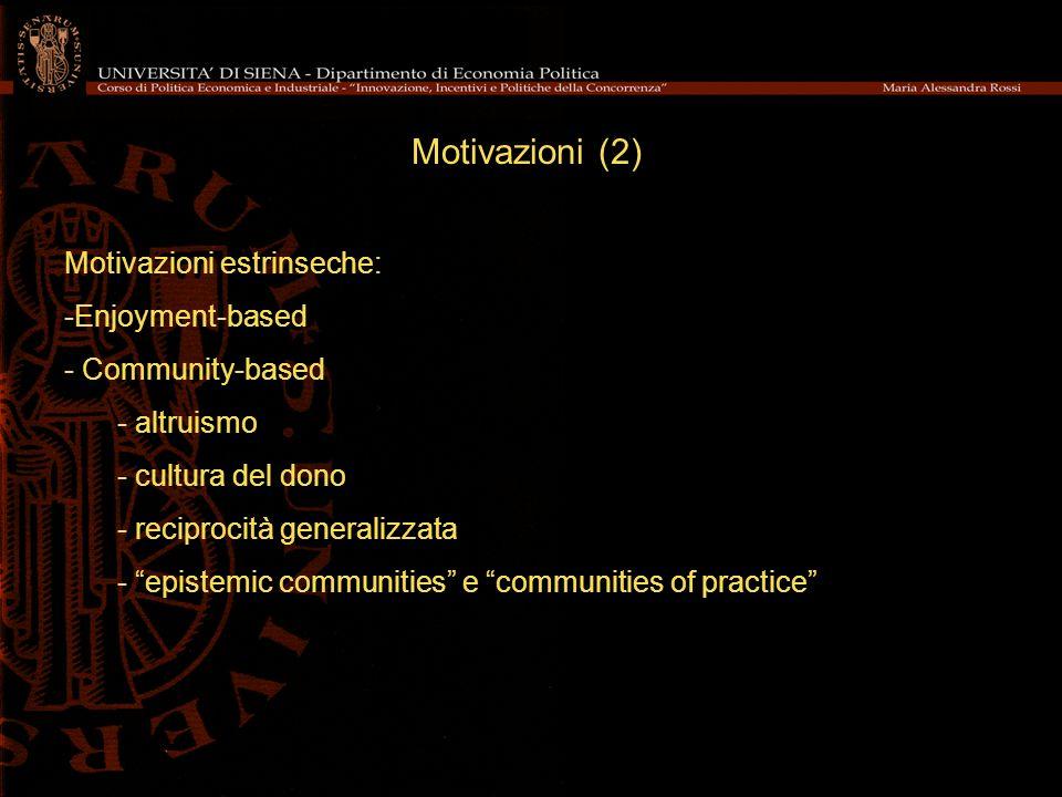 Motivazioni (2) Motivazioni estrinseche: -Enjoyment-based - Community-based - altruismo - cultura del dono - reciprocità generalizzata - epistemic com