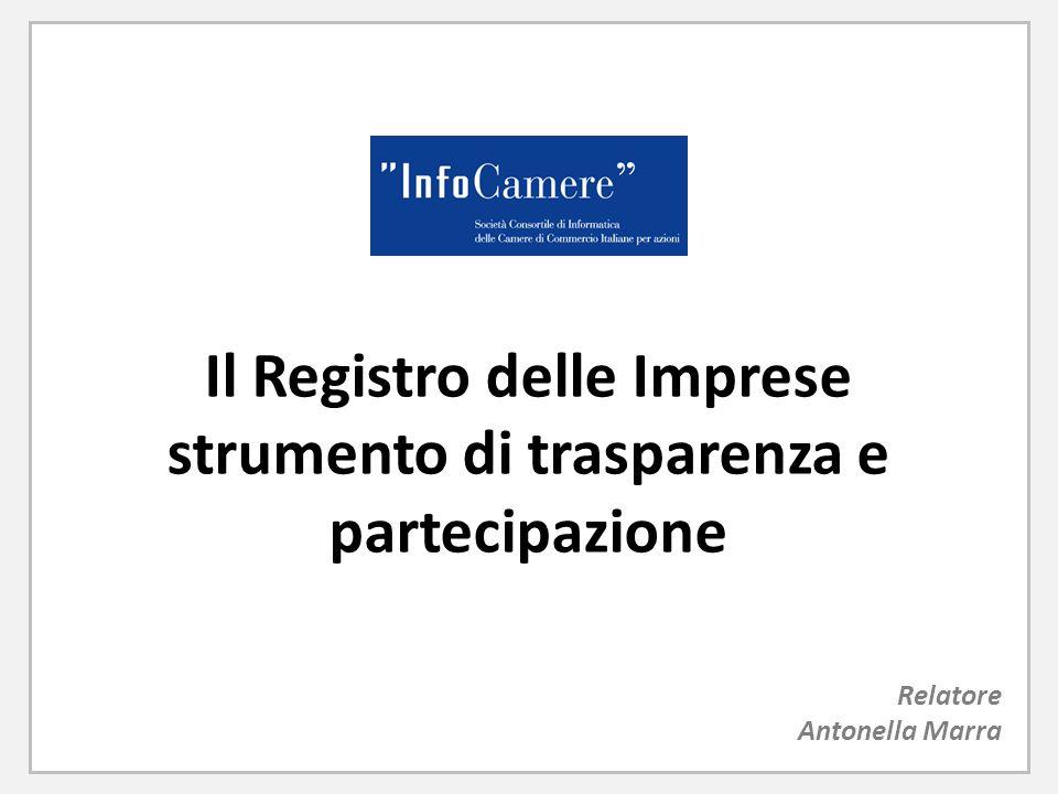 Il Registro delle Imprese strumento di trasparenza e partecipazione Relatore Antonella Marra