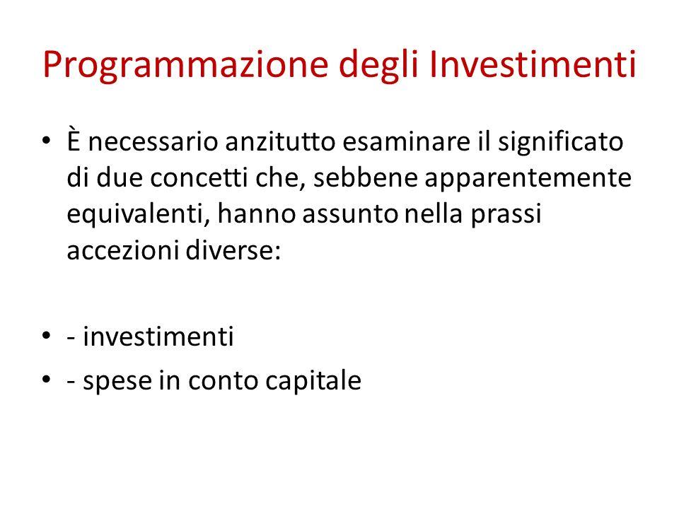 Programmazione degli Investimenti È necessario anzitutto esaminare il significato di due concetti che, sebbene apparentemente equivalenti, hanno assun
