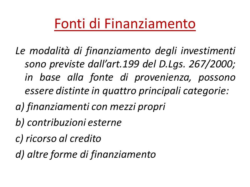Fonti di Finanziamento Le modalità di finanziamento degli investimenti sono previste dallart.199 del D.Lgs. 267/2000; in base alla fonte di provenienz