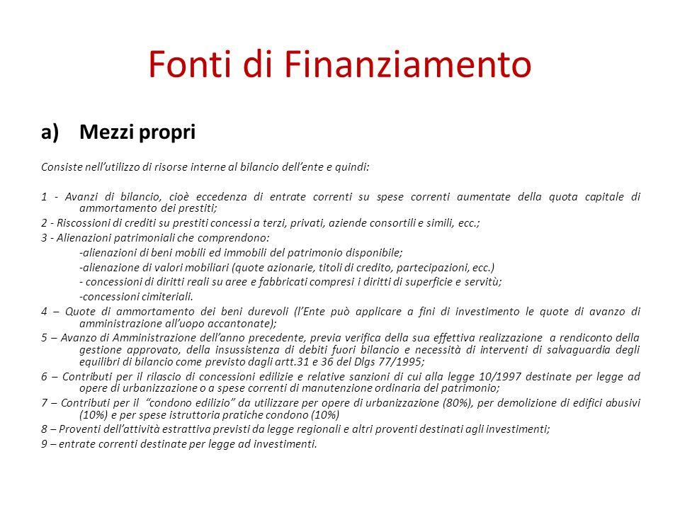 Fonti di Finanziamento a)Mezzi propri Consiste nellutilizzo di risorse interne al bilancio dellente e quindi: 1 - Avanzi di bilancio, cioè eccedenza d