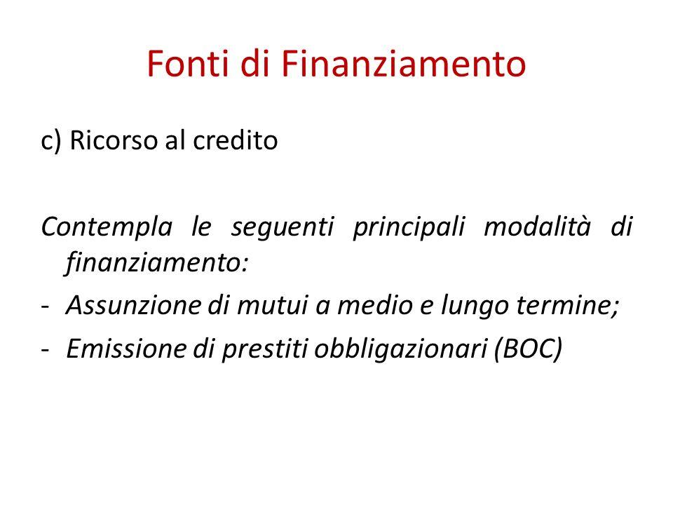 Fonti di Finanziamento c) Ricorso al credito Contempla le seguenti principali modalità di finanziamento: -Assunzione di mutui a medio e lungo termine; -Emissione di prestiti obbligazionari (BOC)