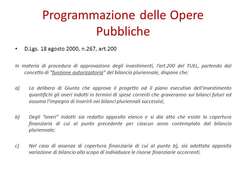 Programmazione delle Opere Pubbliche D.Lgs. 18 agosto 2000, n.267, art.200 In materia di procedura di approvazione degli investimenti, lart.200 del TU