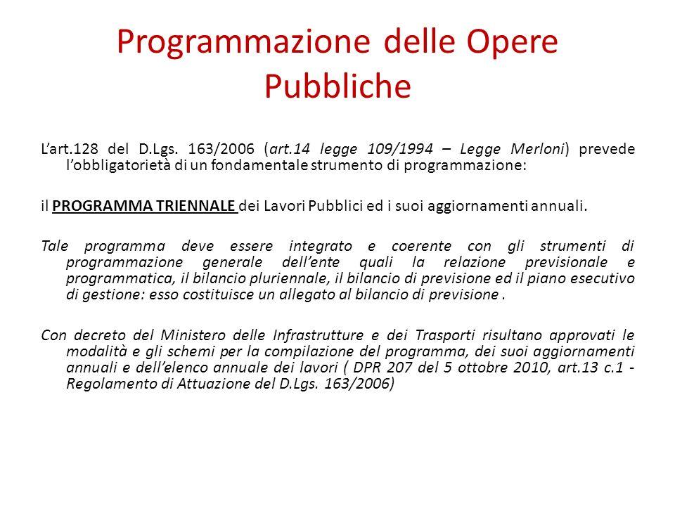 Programmazione delle Opere Pubbliche Lart.128 del D.Lgs. 163/2006 (art.14 legge 109/1994 – Legge Merloni) prevede lobbligatorietà di un fondamentale s