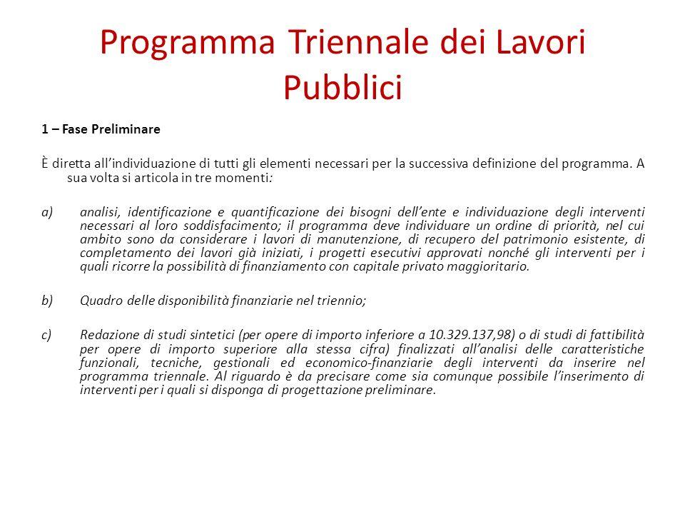Programma Triennale dei Lavori Pubblici 1 – Fase Preliminare È diretta allindividuazione di tutti gli elementi necessari per la successiva definizione