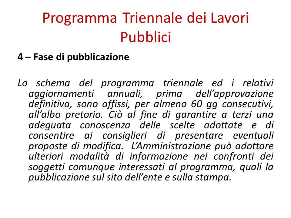 Programma Triennale dei Lavori Pubblici 4 – Fase di pubblicazione Lo schema del programma triennale ed i relativi aggiornamenti annuali, prima dellapp